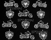 6pcs BIKER CHIC Charm Set - Motorcycles & Tribal Hearts Rally