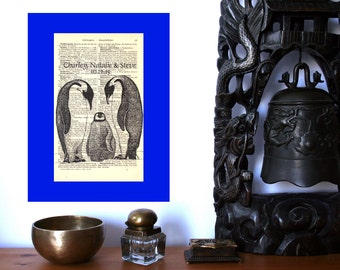 Penguin Family New Baby Wedding Personalized Art Print on Antique 1896 Dictionary Book Page