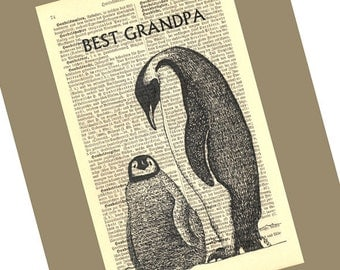 Best Grandpa Penguins Personalized Art Print on Antique 1896 Dictionary Book Page