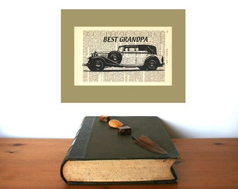 Best Grandpa Vintage Oldtimer Personalized Art Print on Antique 1896 Dictionary Book Page