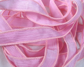 Hand Dyed Silk Ribbons - Jewelry Bracelet - Fairy Ribbon - Quintessence - Pink Crinkle