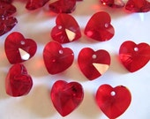 GLASS Heart Pendant Beads in Translucent Red, Faceted Charms, 10 Pieces, Top Hole, 14mm, Quick Shipping from California, G06