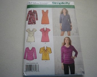 Pattern Women Tunic Top or Mini Dress Sizes 12 to 20 Simplicity 1716 A