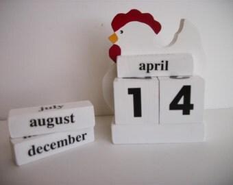 Chicken Calendar Perpetual Wood Block Hen White Chicken Decor