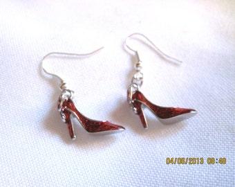 Ruby Red High Heel Shoe Earrings