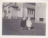 Two Children in Coats - Vintage Photograph (OO)