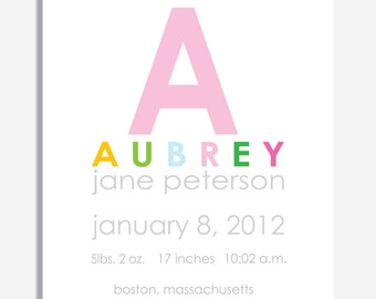 Custom Birth Announcement Print -- INITIAL  -- 8 x 10