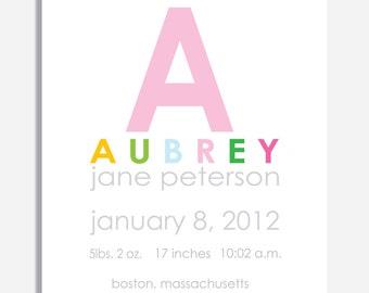 Custom Birth Announcement Print -- INITIAL  -- 8 x 10
