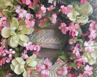 "Mothers Day Wreath Spring/Summer Floral Wreath   ""CHERISH"""