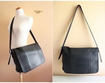 Vintage Coach Black Color Leather Casual Briefcase / Cross Body Bag