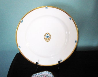 Signed Antique Haviland Limoges Plate with Gold Trim - Merry Townsend 1914- Rare