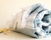 Light Blue Towel-Organic Peshtemal Towel-Soft Baby Towel-Natural High Quality Hand Woven Turkish Cotton Bath,Beach,Spa,Yoga,Pool Towel