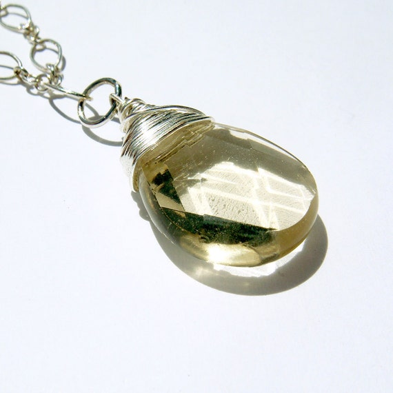 Pale Yellow Necklace with Wire Wrapping with Sterling SIlver Chain, Modern Simple