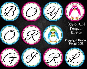 Boy or Girl Penguin Banner for Gender Reveal Parties