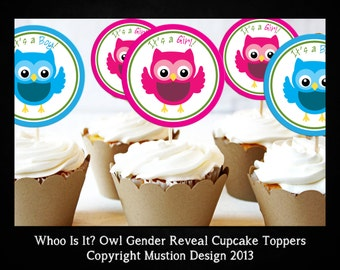 Owl Gender Reveal Printable It's a Boy & It's a Girl Cupcake Topper Template