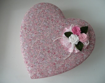 OOAK Handcrafted Pink Floral Padded Heart Shape Valentine Keepsake or Jewelry Box