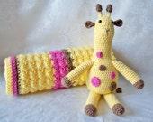 Crochet Baby Blanket, Crochet Giraffe and Baby Blanket, Yellow Pink and Chocolate Baby Blanket, Crochet Baby Shower Set