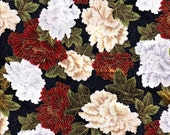 Cotton Christmas Fabric, 1 Yard, Floral, Red, Green, White, Gold Metallic, Quilt, Quilting,  Crafts, Pillow, Holiday Decor, Yardage, Gift
