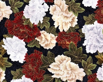 Cotton Fabric, 1/2 Yard, Christmas in Kyoto, Floral, Red, Green, White, Gold Metallic, Quilt, Quilting, Crafts, Pillow, Decor, Yardage, Gift