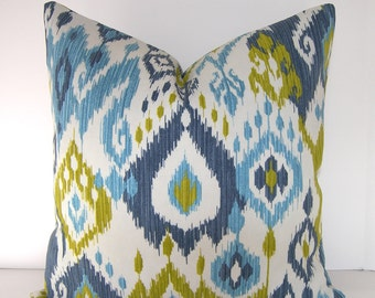 Indoor/Outdoor Ikat Pillow Cover / Teal / Dark Blue / Chartreuse and Ivory