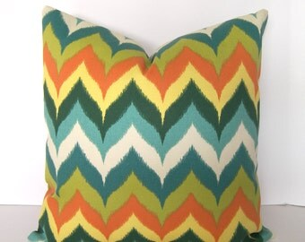 Decorative Geometric Pillow Cover - Indoor/Outdoor - Chevron - teal - orange - citron - green - yellow and turquoise