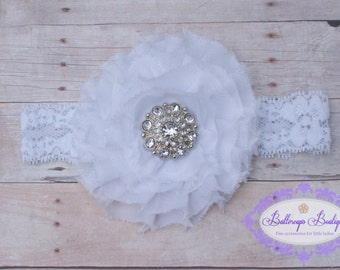 Baby headband, infant headband, newborn headband, white frayed flower on matching lace headband