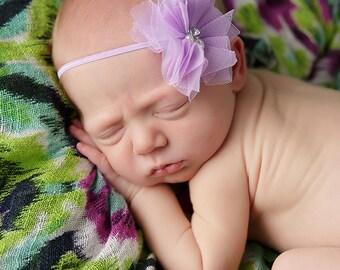 Purple baby headband, baby headband, newborn headband,Purple headband with rhinestones and pearls