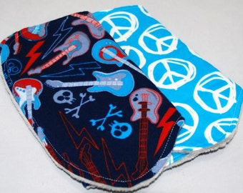 Peace and Guitars Burp Cloth Set, Ready to Ship
