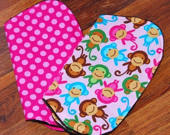 Pink Monkeys and Dots, Burp Cloth Set, Ready to Ship, Girl