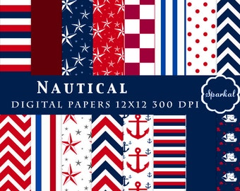 Nautical DIGITAL Paper, Sailor Printable Paper, with Anchors, Stripes, Chevron, Stars Scrapbooking Paper, Nautical Stripes, Instant Download