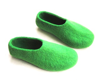 Womens Felted Wool Slippers- Mothers Day Gift - Green Emerald - Contrast Rubber Sole - House Clogs - Australian Day - Womens Sizes to Order