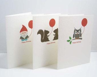 Birthday Cards / Set of 3 / Woodland / Owl / Gnome / Squirrels / Happy Birthday