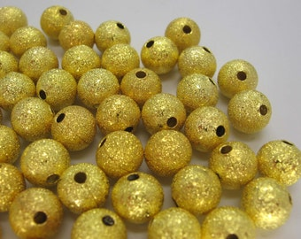 20 Pcs Gold Plated Stardust Round Spacer Beads 8MM