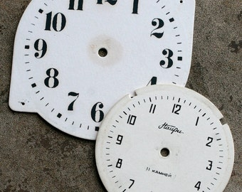 Vintage Alarm Clock Faces -- cardboard -- set of  2 -- D6