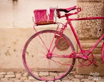 Bike Print, Whimsical, Pink Bike, Hipster Style Print, Girls Room Decor, Nursery Art, 8x10 Fine Art - The Lady in Pink