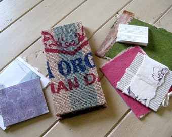 Handmade Journal and Notepads Set of 7 Pieces with Handmade Paper in Some
