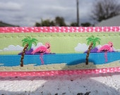 """Dog Collar Flamingo On Beach 1"""" wide adjustable side release buckle / martingale style is cost upgrade"""