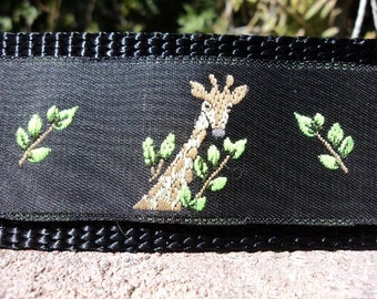 "Sale Large Dog Collar 1.5"" width Quick Release buckle adjustable Giraffe - no martingale, limited ribbon"
