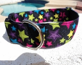"Large Dog Collar Star Bright 1.5"" wide side release buckle adjustable  - martingale style is cost upgrade"