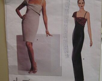 Slinky Evening Gown, Close Fitting, Straight, Shoulder Strap, Bill Blass Vogue American Designer No. 2662 UNCUT Size 14 16 18