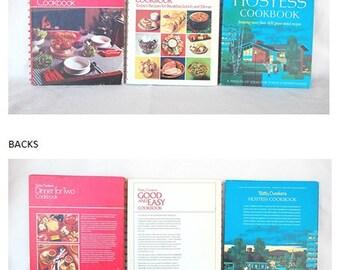 3 Betty Crocker Vintage Cookbooks, Hostess Cookbook 1st Ed 1st Print, Good and Easy 2nd print, Dinner for Two 5th print