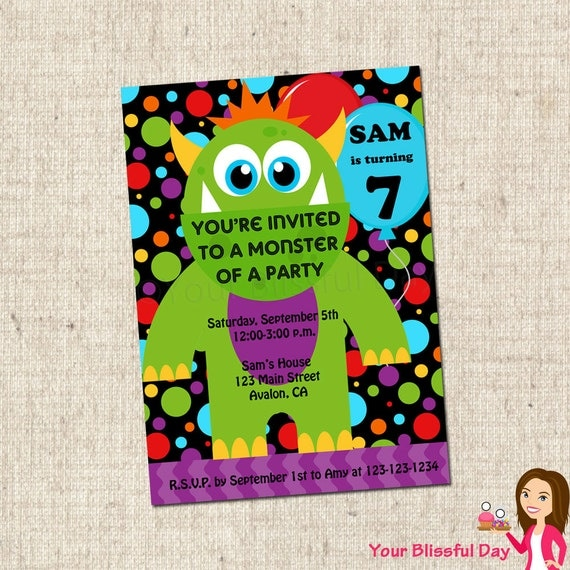 PRINTABLE Monster Party Invitation #555
