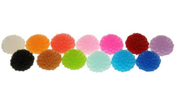 YOU CHOOSE 10 Frosted 10mm Chrysanthemum Mum Dahlia Cabochon Flowers 13 Colors to Pick From