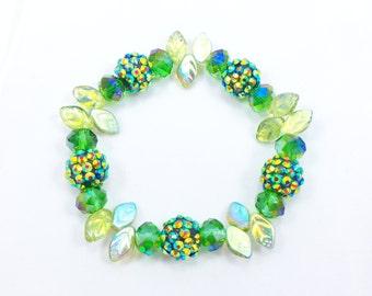 Green Disco Ball Stretch Bracelet, Rhinestone Disco Ball Bracelet, Pave Rhinestone Ball Bracelet