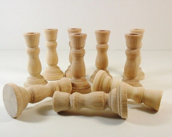 "10 Candlesticks 3"" (7.62 cm) with 1/2"" (1.27 cm) Hole Unfinished Wood Candle Holders Wedding"