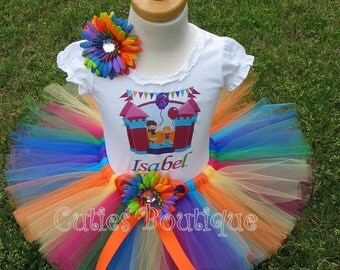 Bounce House Birthday Outfit Set With Personalized Shirt- All Sizes 6 9 12 18 24 Months 2T 3T 4T ---Birthday, Photo, Dress Up