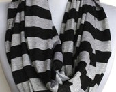 Jersey Infinity Scarf: Light Gray and Charcoal Striped Jersey, Loop Scarf, Eternity Scarf, Circle Scarf