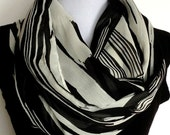 Chiffon Infinity Scarf in Black and Off White Abstract Modern Print, Loop Scarf, Eternity Scarf, Circle Scarf