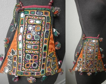 Antique Rajasthani Banjara/Kutch Mirrored Hand Embroidered Shamans Dowery Bag Purse