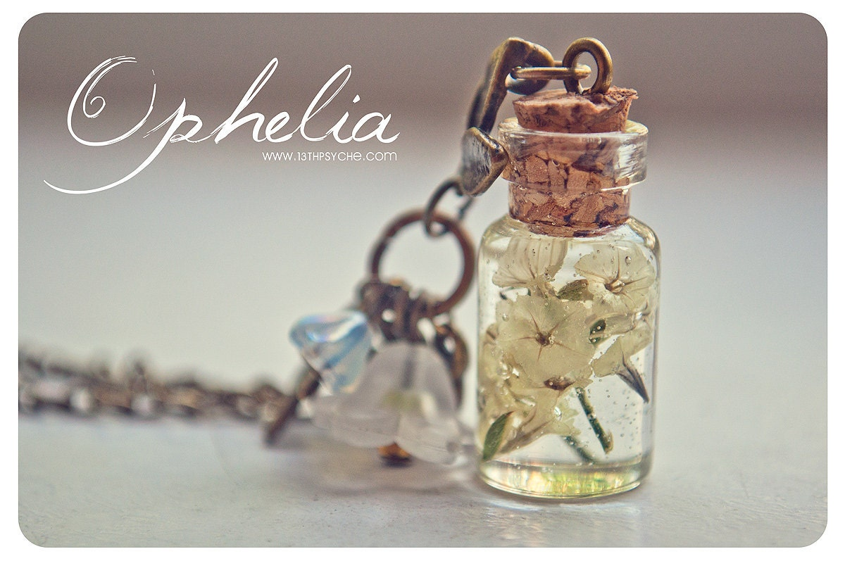 Dried Flowers Bottle Necklace Glass Vial Necklace With